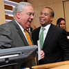 Salem:<br /> Boston mayor Thomas Menino, left, jokes with Governor Deval Patrick at the podium. The mayor just completed his speech and the governor was up next to speak at the Mass Mayors Association meeting held at Salem State University.<br /> Photo by Ken Yuszkus/Salem News, Wednesday, February 16, 2011.