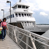 Salem:<br /> Shirley Sandler, left, and Pat Morrow, both of Salem, arrive on the 3:30 ferry from Boston on the opening day of the ferry service.<br /> Photo by Ken Yuszkus/Salem News, Friday, June 8, 2012.