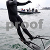 Marblehead:<br /> Chris Swain jumps into the ocean just before starting his swim. The Marblehead man is swimming to Washington D.C. to help environment.<br /> Photo by Ken Yuszkus/Salem News, Wednesday, April 22, 2009.