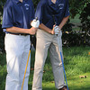 Hamilton:<br /> Hamilton-Wenham's Tom Roccio, left, and Scott Hughes, teammates on one of the foursomes, have a moment to chat during the Amesbury at Hamilton-Wenham golf match held at the Myopia Hunt Club golf course.<br /> Photo by Ken Yuszkus/The Salem News, Monday, September 17, 2012.
