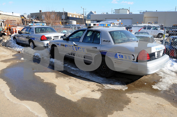 Beverly;<br /> The two Beverly police cruisers that have sat idle for two years because police officers feel the two cars are faulty and they refuse to drive them.<br /> Photo by Ken Yuszkus/Salem News, Monday,  February 9, 2009.