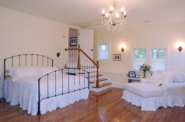Swampscott:<br /> The master bedroom in Swampscott's old fire station that Steve Hayes recently finished renovating. He has turned the building into his own family home.<br /> Photo by Ken Yuszkus/Salem News, Thursday, November 3, 2011.