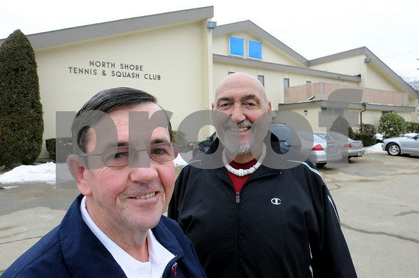 Salem:<br /> John Foley, left, the pro, is having the North Shore Tennis & Squash Club named after him. Standing next to him is club president Tony Lena.<br /> Photo by Ken Yuszkus/Salem News, Tuesday,  February 10, 2009.