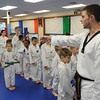 Beverly:<br /> Christopher Hopper gives instructions to the childrens all belt class during practice at DW Kim US Tae Kwon Do studio on Friday.<br /> Photo by Ken Yuszkus/Salem News, Friday, December 2, 2011.