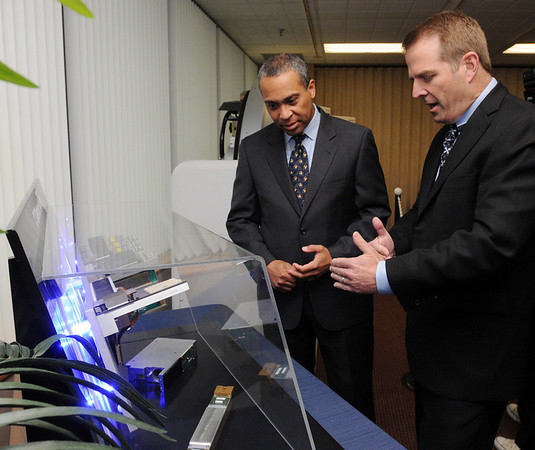 Peabody:<br /> Governor Patrick listens to Jim Green, president and CEO of Analogic Corporation, explains the products the company produces while touring the facility. Governor Patrick was there to make an announcement relative to job training.<br /> Photo by Ken Yuszkus/Salem News, Tuesday, April 27, 2010.