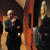 "Salem:<br /> Frederick Duparc talks about Rembrandt's ""Portrait of Aeltje Uylenburgh""  which is part of Peabody Essex Museum's new exhibit ""Golden: Dutch & Flemish Masterworks.""<br /> Photo by Ken Yuszkus/Salem News, Tuesday, February 22, 2011."