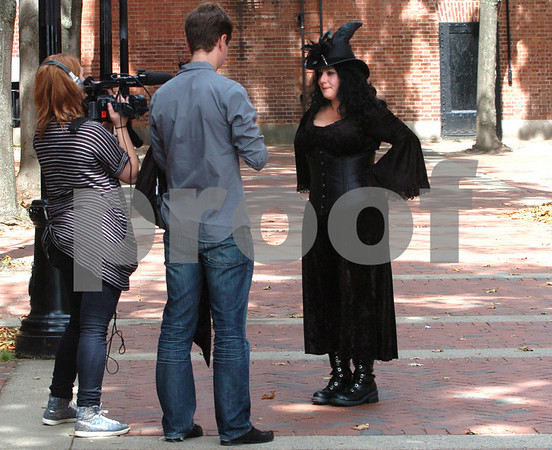 "Salem:<br /> Leanne Marrama is shot outside the Old Town Hall. Leanne Marrama is the main character in the upcoming episode of ""What Not To Wear"" appearing on the TLC network.<br /> Photo by Ken Yuszkus/Salem News, Wednesday, September 9, 2009."