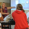 Beverly:<br /> Dru Redmond explains various features of the new laptop computers which were given out at Beverly High School on Monday morning.<br /> Photo by Ken Yuszkus/Salem News, Monday, August 15, 2011.