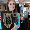 Peabody:<br /> Emily Lanois of Hamilton-Wenham, left, and Dylan Maki of Gloucester are the Moynihan Lumber Student-Athletes of the Year.<br /> Photo by Ken Yuszkus/Salem News, Tuesday, June 9, 2009.