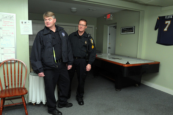 Salem:<br /> Patrolman Rob Phelan, left, and Sgt. Harry Rocheville at the Community Resource Center which is opening for at-risk youth.<br /> Photo by Ken Yuszkus/Salem News, Thursday, October 20, 2011.