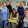 Beverly:<br /> From left, Silja Carstenn, Jan Heimann, Lea Westermann, Hilke Kluts, Lisa Boldt, and Lena Sehott, who are all German students visiting Beverly High School.<br /> Photo by Ken Yuszkus/Salem News, Tuesday,  October 12, 2010.