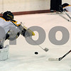 Peabody:<br /> Bishop Fenwick's goalie Craig Forrest pounces on the puck during the Bishop Fenwick vs Tyngsboro boys hockey game at McVann-O'Keefe Rink.<br /> Photo by Ken Yuszkus/Salem News, Wednesday December 31, 2008.