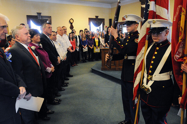 Beverly:<br /> The Beverly High School ROTC MCJ Color Guard does their presentation of colors at the start of the  inaugural ceremony in the council chamber of the city hall.<br /> Photo by Ken Yuszkus/Salem News, Monday, January 4, 2010