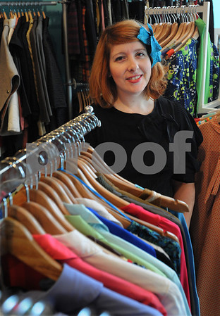 """Salem:<br /> Christine Robidoux, owner of Modern Millie clothing store, is running a fashion show on Thursday at the Hawthorne Hotel to raises funds and awareness for the Salem Mission. The show is called, """"The Clothes on Their Backs"""".<br /> Photo by Ken Yuszkus/Salem News, Monday,  February 2, 2009."""