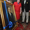 Salem:<br /> Juli Lederhaus, general manager of the Hawthorne Hotel and Peter Poor look at the portrait of Frank Poor which was presented to the Hawthorne Hotel by Peter Poor.<br /> Photo by Ken Yuszkus/Salem News, Thursday, June 16, 2011.