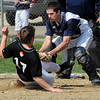 Hamilton:<br /> Ipswich's Ben Clasby is tagged out at home by Hamilton-Wenham's catcher, Jim Love, during the Ipswich at Hamilton-Wenham baseball game at Patton Park.<br /> Photo by Ken Yuszkus/Salem News, Thursday, April 22, 2010.
