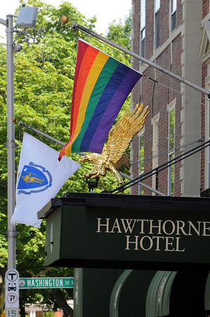 "Salem:<br /> In celebration of ""Out Night,"" Hawthorne Hotel is flying the Gay Pride flag with the state flag.<br /> Photo by Ken Yuszkus/Salem News, Thursday, June 30, 2011."
