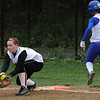Marblehead:<br /> Marblehead's Maggie Herman, left, tags first base getting Danvers' Gabby Vega out at the Danvers at Marblehead softball game.<br /> Photo by Ken Yuszkus/Salem News, Monday, May 23, 2011.