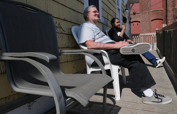 Beverly:<br /> Richard Luebcke, left, and Ervin Saravia sit in the sunshine enjoying the first day of spring.<br /> Photo by Ken Yuszkus/Salem News, Tuesday,  March 20, 2012.