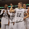 Boston:<br /> St. John's Prep's Connor Macomber shows some muscle after winning the St. John's Prep vs Mansfield boys state semifinal basketball game at the Boston Garden.<br /> Photo by Ken Yuszkus/Salem News, Tuesday March 15, 2011.