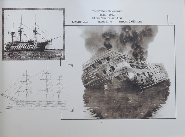 """Beverly:<br /> This is the U.S.S. New Hampshire. Norman """"Dugie"""" Russell dove on the sunken wreck of the U.S.S. New Hampshire off Singing Beach in Manchester. The artifacts that he recovered are fashioned into pieces of art which he sells.<br /> Photo by Ken Yuszkus/Salem News, Friday,  April 8, 2010."""