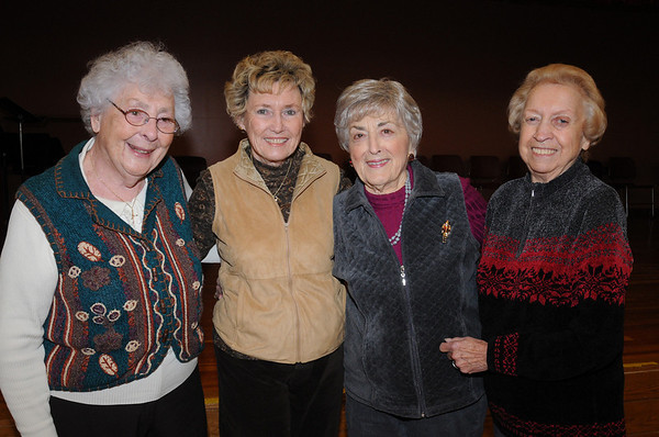 Peabody:<br /> From left, Mary Sullivan of Marblehead, Marge Snow of Salem, Ida Massa of Peabody, and Shirley Herlihy of Danvers, at the County-western line dancing at the Peter A. Torigian Community Life Center.<br /> Photo by Ken Yuszkus/Salem News, Tuesday, December 29, 2009.