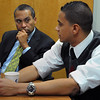 Salem:<br /> Gov. Deval Patrick listens to Quin Gonell, a grad student, speak at Salem State College during a meeting with students before his formal speech at the college.<br /> Photo by Ken Yuszkus/Salem News, Friday November 13, 2009.