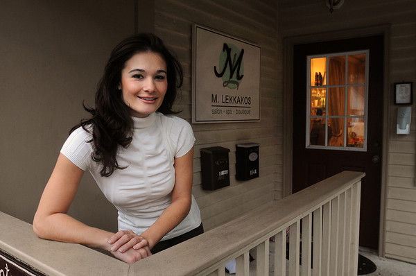 Wenham:<br /> Maria Lekkakos, owner of M. Lekkakos salon, stands in front of her business on Main Street.<br /> Photo by Ken Yuszkus/Salem News,  Wednesday,  November 17, 2010.