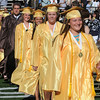 Peabody:<br /> Alexandra Stote, senior class president, gives a little wave as she leads the processional during the Bishop Fenwick graduation.<br /> Photo by Ken Yuszkus/Salem News, Friday, May 28, 2010
