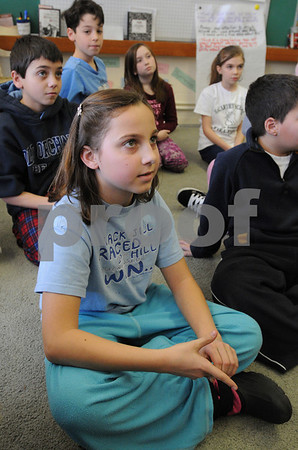 Peabody:<br /> Rebecca Dubois talks about the inauguration. She is a fifth grade student in Nancy Manning's class at the McCarthy school.<br /> Photo by Ken Yuszkus/Salem News, Friday,  January 16, 2009.