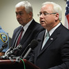 Salem:<br /> Jonathan Blodgett, right, district attorney, conducts a press conference about the capture of three suspects for the recent Ipswich murder of Tony Woo. From left, is Ipswich Police Chief Paul Nikas and Massachusetts State Trooper Detective Lt. Norman Zuk.<br /> Photo by Ken Yuszkus/Salem News, Monday, October 17, 2011.