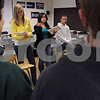 Peabody:<br /> From left, Julia Kayal, a junior, Katherine Josey, a senior, and Glen Savoie, a junior, present the World of Difference program to one of the freshman classes at Peabody High School.<br /> Photo by Ken Yuszkus/Salem News, Thursday, April 9, 2009.