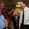 Beverly:<br /> Jerry Parisella, right, is all smiles after winning the primary state representative race as he stands with his wife, Lisa, at the victory party held at Stephy's Kitchen. From left are friends, Tom Alexander and Michael Tierney.<br /> Photo by Ken Yuszkus/Salem News, Tuesday,  September 14, 2010.