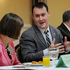 Peabody:<br /> Mayor Ted Bettencourt speaks with Deanne Healey, president and CEO of the Peabody Area Chamber of Commerce, at the head table before his first State of the City address at the breakfast sponsored by the Peabody Area Chamber of Commerce at the Holiday Inn.<br /> Photo by Ken Yuszkus/Salem News, Wednesday, January 25, 2012.