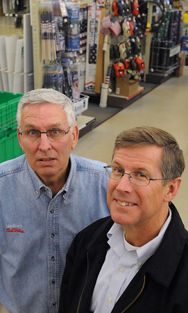 Beverly:<br /> Bob Wallace, left, president, and Jim Dawson, stand in Dawson's True Value Hardware. Dawson's True Value Hardware will celebrate its 60th anniversary in May.<br /> Photo by Ken Yuszkus/Salem News, Friday, April 23, 2010.