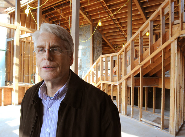Beverly:<br /> Michael Comb, president and CEO of Cell Signalling Technology, stands in the gutted building at 32 Tozer Road in Beverly, where the company is embarking on a $20 million renovation of the building into a research and development center.<br /> Photo by Ken Yuszkus/Salem News, Friday, January 6, 2012.