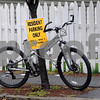 "Salem:<br /> The ""resident parking only"" sign must apply to bicycles as well. This bicycle was parked on Essex Street.<br /> Photo by Ken Yuszkus/Salem News, Tuesday October 13, 2009."