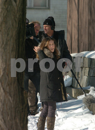 """Salem:<br /> Sarah Jessica Parker at the Charter Street cemetery during the filming for the NBC show """"Who Do You Think You Are"""".<br /> Photo by Ken Yuszkus/Salem News, Friday,  January 30, 2009."""