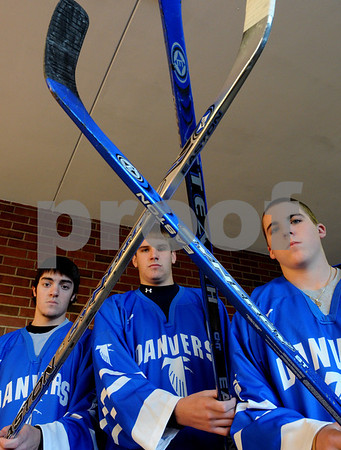 Danvers:<br /> From left, Stephen Deroche, Tim Wilkinson, and Troy Thibodeau, are the captains of the Danvers High School Hockey team.<br /> Photo by Ken Yuszkus/Salem News, Monday December 8, 2008.