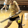 Peabody:<br /> Bishop Fenwick's Meredith Ross at softball practice in the gym at Bishop Fenwick on Tuesday.<br /> Photo by Ken Yuszkus/Salem News, Tuesday, April 19, 2011.