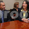 Salem:<br /> Governor Deval Patrick listens to Salem Mayor Kim Driscoll at start of the meeting in the City Hall. The governor met with the mayor, department heads, members of the city council and school committee to update them on the state budget crisis. <br /> Photo by Ken Yuszkus/Salem News, Wednesday, October 22, 2008.