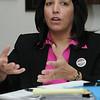 Beverly:<br /> Salem Mayor Kim Driscoll speaks with The Salem News staff on Monday.<br /> Photo by Ken Yuszkus/Salem News, Monday,  February 27, 2012.