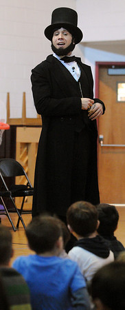 """Danvers:<br /> Casey Preston is an actor portraying Abraham Lincoln during his presentation, """"Abraham Lincoln: American President"""", at the Highlands Elementary School.<br /> Photo by Ken Yuszkus/Salem News, Tuesday, February 2, 2010."""
