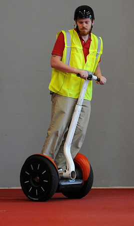 Salem:<br /> Urias O'Keefe, chief tour operator at Salem Seggliders, manuevers a segway vehicle inside the business.<br /> Photo by Ken Yuszkus/Salem News, Thursday, June 2, 2011.