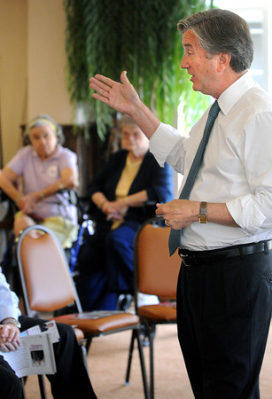 Danvers:<br /> Congressman John Tierney speaks to residents at Colonial Gardens Retiement Community.<br /> Photo by Ken Yuszkus/The Salem News, Thursday, August 16, 2012.