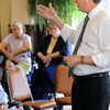Danvers:<br /> Congressman John Tierney speaks to residents at Colonial Gardens Retiement Community.<br /> Photo by Ken Yuszkus/The Salem News, Thursday, August 16, 2012.