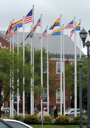 Salem:<br /> Rainbow flags fly in Riley Plaza in honor of Gay Pride Month.<br /> Photo by Ken Yuszkus/Salem News, Tuesday, June 5, 2012.