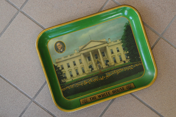 Danvers:<br /> A serving tray from the Harry Roosevelt era owned by Alan Hartnett, an avid collector of political memorabilia.<br /> Photo by Ken Yuszkus/Salem News, Wednesday, February 8, 2012.