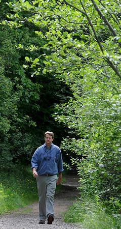 Topsfield:<br /> Alex Van Alen, Executive Director of Essex County Trails walks on a trail in Bradley Palmer State Park.<br /> Photo by Ken Yuszkus/Salem News, Thursday, May 27, 2010.