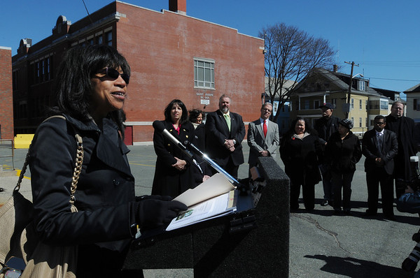 Salem:<br /> Tina Brooks, undersecretary of Massachusetts Department of Housing & Community Development, speaks at the ceremony outside St. Joseph's Church to kick off an affordable housing project at the site.<br /> Photo by Ken Yuszkus/Salem News, Tuesday, March 29, 2011.